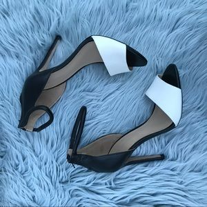 Zara Basic Ankle Strap Heels - Black & white
